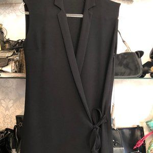 SANDRO PARIS Black Sleeveless Wrap Dress w/ Lace